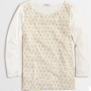 J.Crew Factory Floral lace 3/4 sleeve T-shirt sz S
